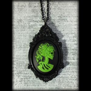 Large Gothic Victorian Cameo Necklace - Green Lady Skull