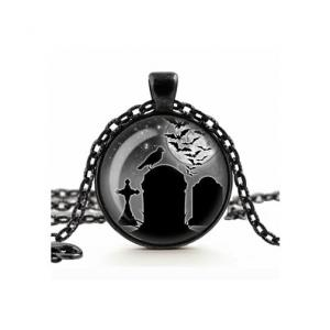 Gothic Necklace - Spooky Graveyard Glass Cameo