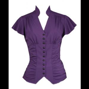 Purple Gothic Blouse with Gathered Button Through Front