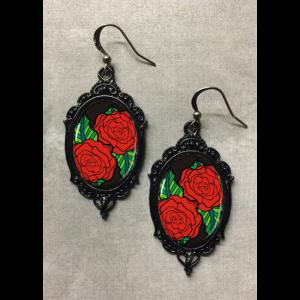 Glass Cameo Gothic Rockabilly Earrings - Red Roses Tattoo