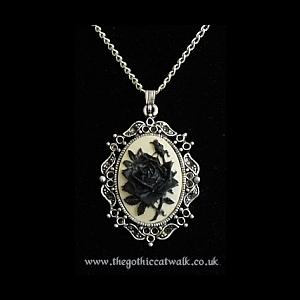 Gothic Victorian Cameo Necklace - Black Rose on Ivory