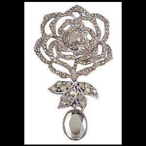 Vintage Style Diamante Rose Brooch