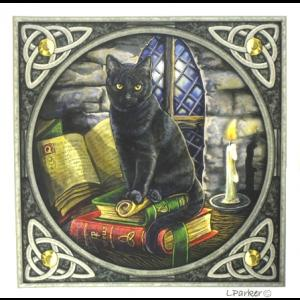 Black Cat on Books Gothic Greetings Card