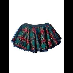 Gothic Punk Green Tartan Mini Tutu Skirt
