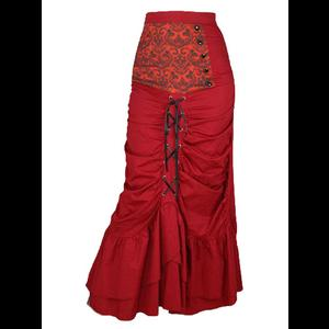 Gothic Steampunk Long Red Corset Skirt