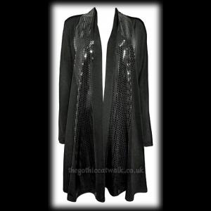 Plus Size Long Line Sequin Front Open Cardigan