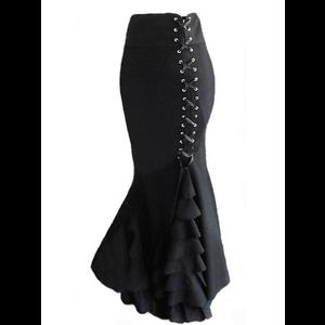 Black Gothic Victorian Ruffle Mermaid Corset Skirt
