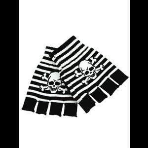 Gothic Punk Gloves - Black & White Striped with Skull #1