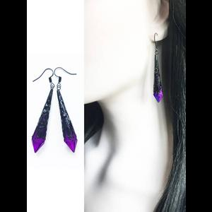 Purple and Black Earrings, Vintage Gothic Victorian Style