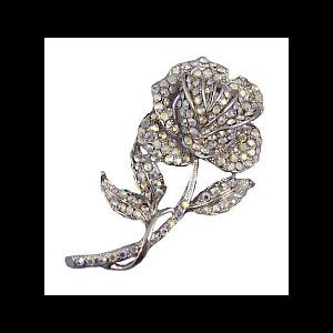 Vintage Style AB Diamante Rose Brooch on a Stem