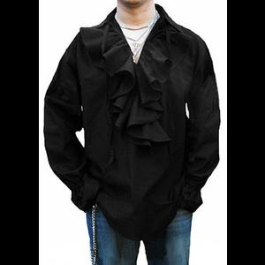 Men's Black Gothic Shirt with Ruffle Neck