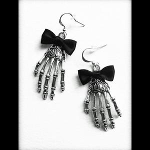 Silver Skeleton Hands Gothic Earrings
