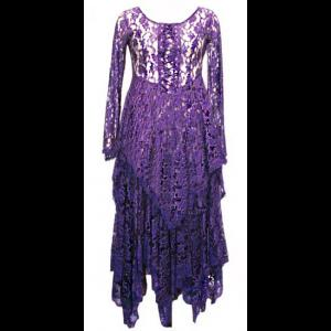 Long Purple Heavy Lace Witchy Gothic Dress