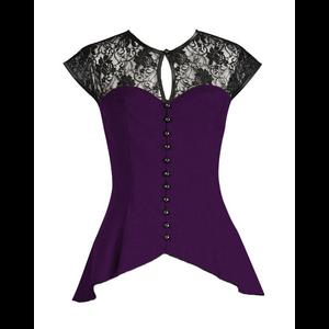 Plus Size Purple Gothic Top with Lace Yoke & Sleeves