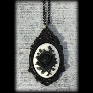 Large Gothic Victorian Cameo Necklace - Black & White Rose