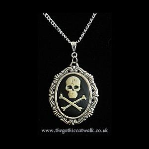 Ivory Skull & Crossbones Gothic Cameo Necklace