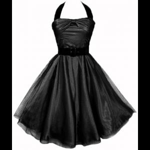 Hell Bunny Black Satin & Gothic Prom Net Dress