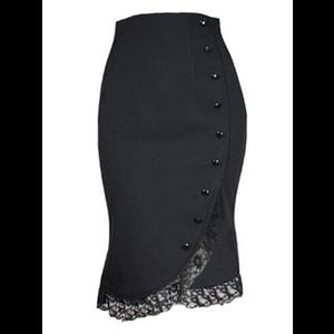 Short Black Gothic Skirt with Lace Hem