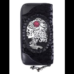 Gothic Steampunk Flocked Velvet Wallet by Banned - Skeleton Lady