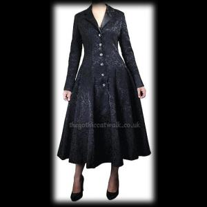 Plus Size Black Damask Fitted Gothic Frock Coat