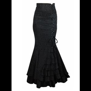 Black Damask Gothic Victorian Ruffle Mermaid Corset Skirt