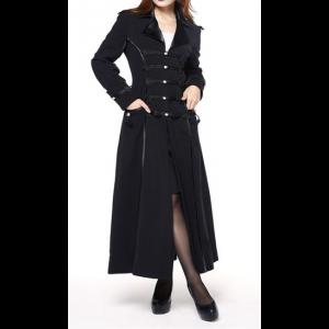 Plus Size Long Black Military Style Womens Coat | Plus Size