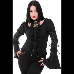 Gothic Punk Black Top with Corset Neck
