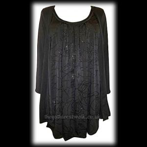 Plus Size 2 in 1 Mock Layer Cardi Top - Black Glitter