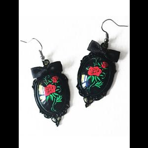 Red Rose Tattoo Rockabilly Earrings #2