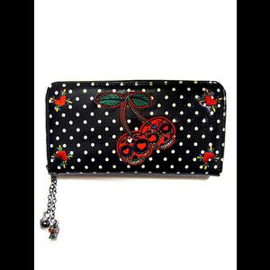 Rockabilly Pin Up Gothabilly Cherry Skulls Wallet by Banned