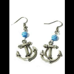 Silver Rockabilly Nautical Anchor Earrings