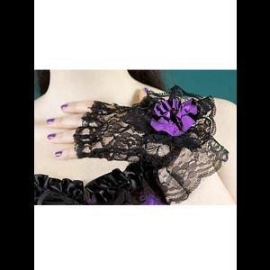 Elegant Gothic Lace Gloves with Purple Rose