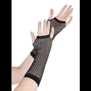 Gothic Punk Black Fishnet Fingerless Gloves