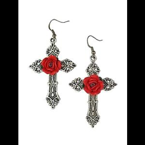Gothic Cross Earrings with Red Roses