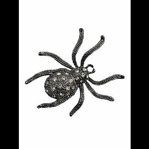 Gunmetal Diamante Spider Brooch