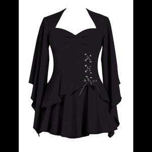 Black Gothic Top with Side Corset Lacing