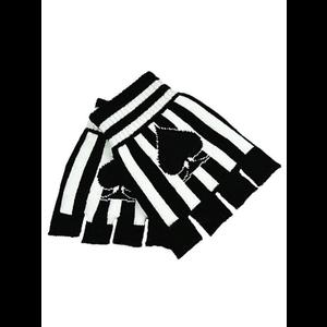 Gothic Punk Gloves - Black & White Striped & Ace of Spades