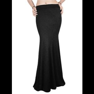 Long Black Gothic Mermaid Stretch Skirt