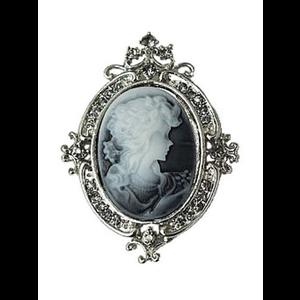 Gothic Victorian Crystal Cameo Brooch