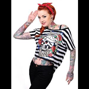 Banned Black & White Striped Tattoo T-Shirt
