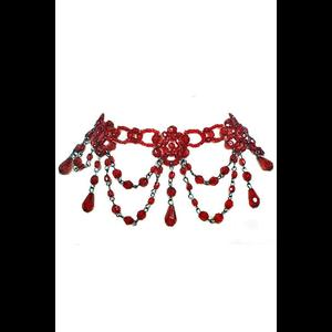 Red Beaded Victorian Gothic Choker Necklace #14