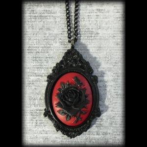 Large Gothic Victorian Cameo Necklace - Black Rose on Red