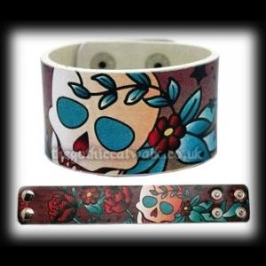 Tattoo Rose & Skull Design Wristband