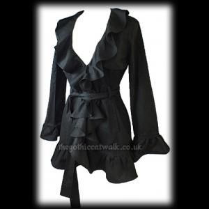 Long Length Black Gothic Jacket Top with Ruffle Neck