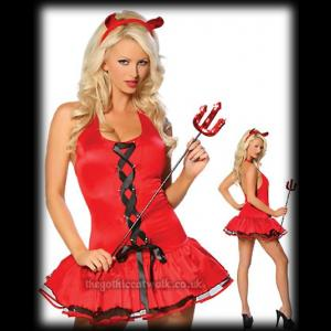 Red She-Devil Costume with Horns and Trident