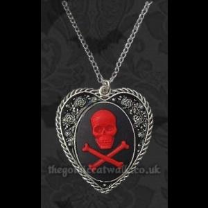 Gothic Heart Cameo Necklace - Red Skull