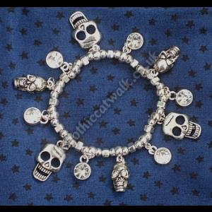 Silver Skull Charm Bracelet with Crystals