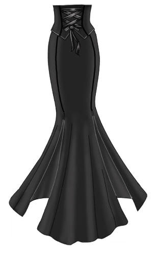 6a3605391a Plus Size Long Black Gothic Corset Skirt - Satin Binding