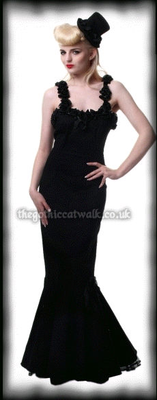 Long Black Gothic Mermaid Dress with Roses