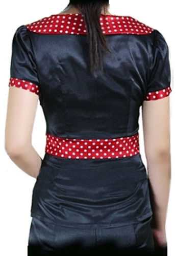 Black Satin Blouse with Red Polka Dot Trim